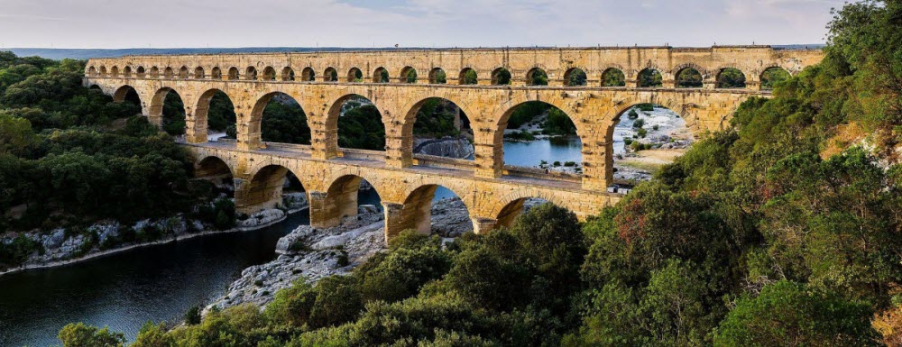 The multiple arches of the Pont du Gard in Roman Gaul